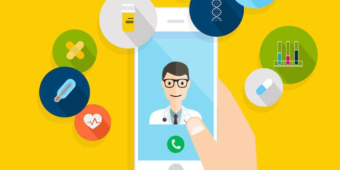48036468 - vector modern creative flat design on hand holding mobile phone with medical assistance and doctor. vector illustration.